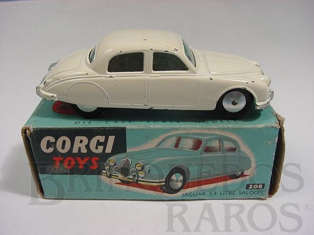 Brinquedo antigo Jaguar 2.4 Litre Saloon Chassi de chapa de Aço caixa azul Década de 1960