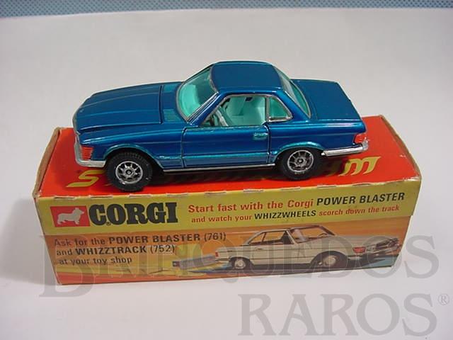 Brinquedo antigo Mercedes Benz 350 SL azul metálico