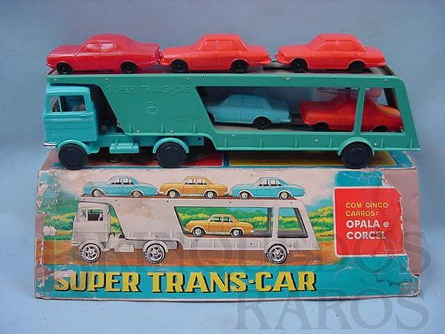Brinquedo antigo Caminhão cegonha Super Trans-Car com cinco carros de plastico assoprado Corcel e Opala