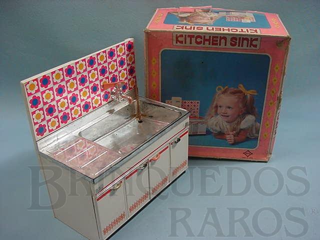 Brinquedo antigo Cozinha de boneca Kitchen Sink completa funciona com agua