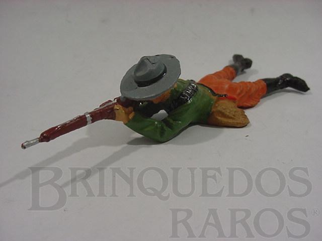 Brinquedo antigo Soldado Mexicano deitado atirando com Fuzil Década de 1950