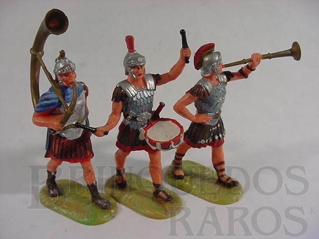 Brinquedo antigo Conjunto de tres soldados romanos em banda