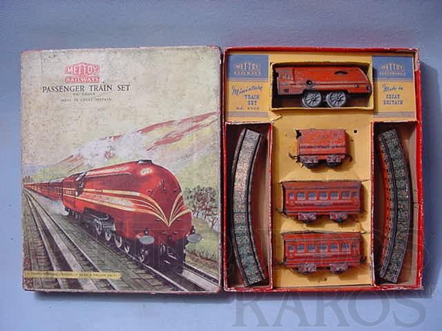 Brinquedo antigo Conjunto de Locomotiva e 2 Carros de Passageiros importado e distribuído pela Estrela Ano 1948