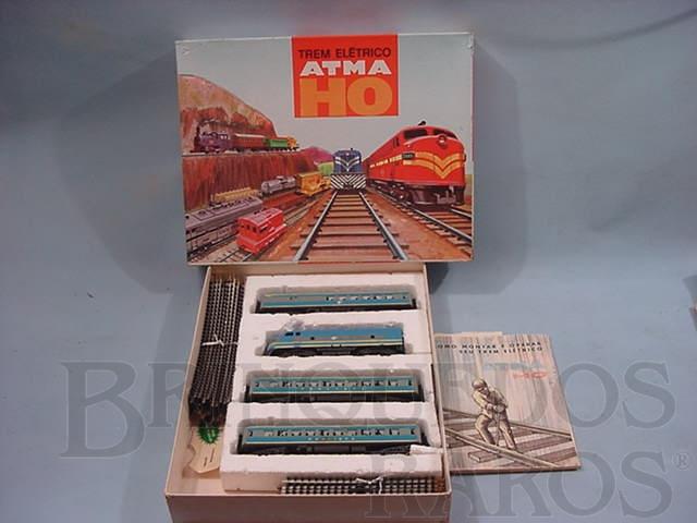 Brinquedo antigo Conjunto de Locomotiva Diesel F3 e 3 Carros de passageiros Companhia Paulista Década de 1960