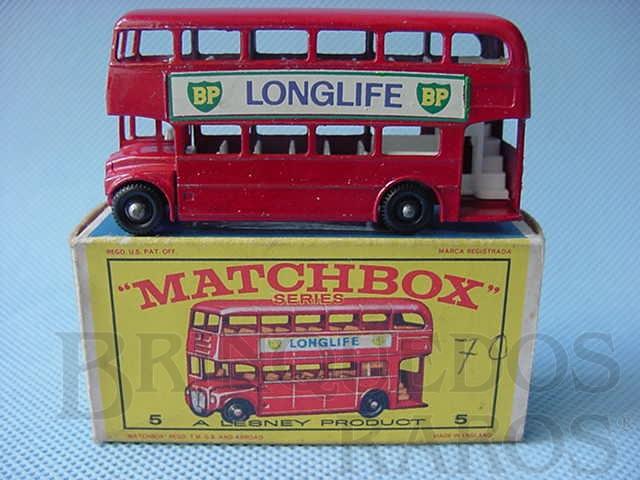Brinquedo antigo Routermaster London Bus black plastic Regular Wheels Long Life label