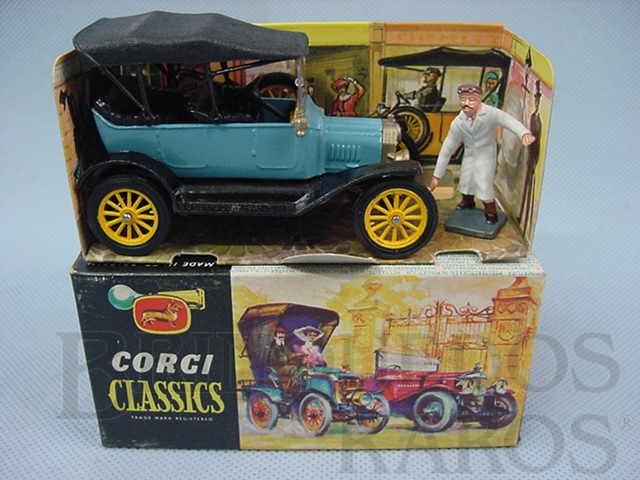 Brinquedo antigo Ford Model T 1915 azul com capota Corgi Classics Completo com display e figura