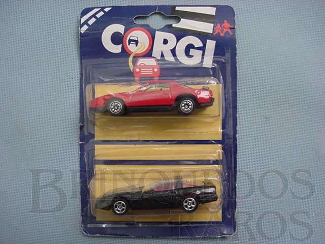 Brinquedo antigo Pontiac Firebird e Chevrolet Corvette Blister duplo lacrado Corgi Jr