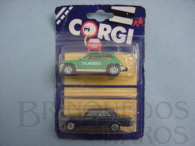 Brinquedo antigo Renault 5 Turbo e Mercedes Benz 240D Blister duplo lacrado Corgi Jr