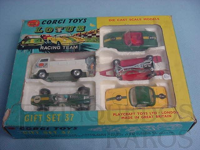 Brinquedo antigo Gift Set Lotus Racing Team completo Década de 1960
