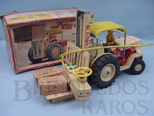 Brinquedo antigo Empilhadeira Ford 4000H com 35 cm de comprimento Década de 1960
