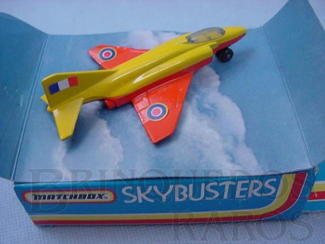 Brinquedo antigo Phantom F4E Sky Busters amarelo e vermelho Brazilian Matchbox Inbrima 1970