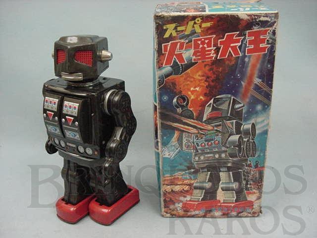 Brinquedo antigo Robot com metralhadora no peito Rotate-O-Matic rosto mecânico Com 29,00 cm de altura Década de 1960