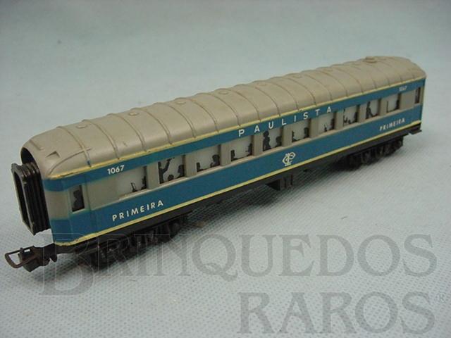 Brinquedo antigo Carro de Passageiros azul Companhia Paulista primeira classe Década de 1970