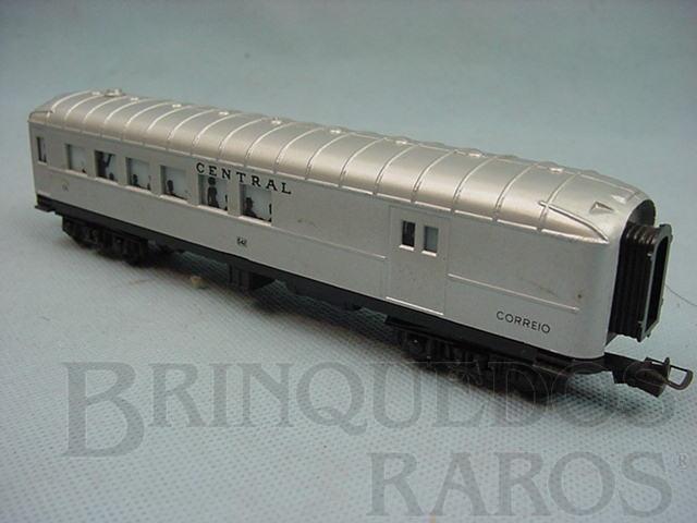 Brinquedo antigo Carro de Passageiros prata Central do Brasil segunda classe e Correio Década de 1970
