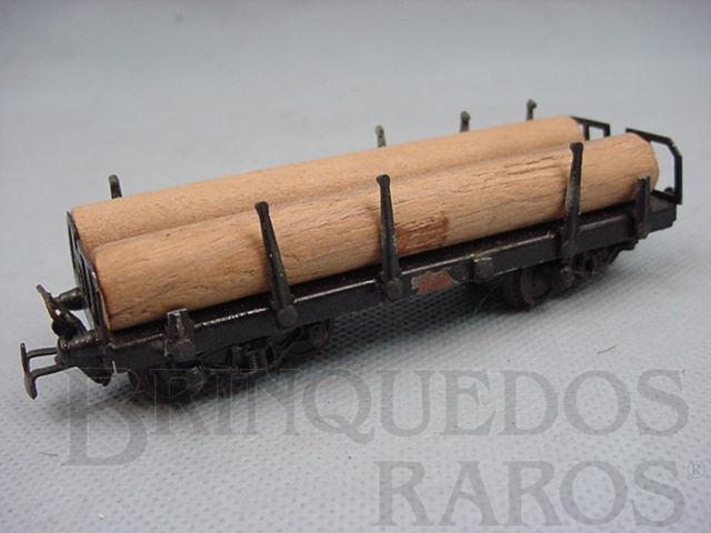 Brinquedo antigo Vagão prancha de dois trucks com toras Corrente Alternada Atma Mirim Década de 1950