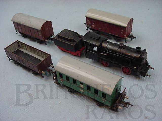 Brinquedo antigo Conjunto de Locomotiva e 4 vagões de carga Made in US Zone Ano 1954