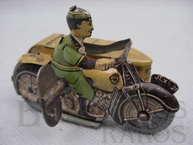 Brinquedo antigo Motocicleta do Correio Inglês com side car com 8,00 cm de comprimento Década de 1920