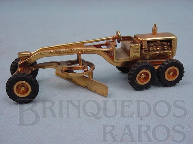 Brinquedo antigo Motoniveladora Caterpillar CAT 12 com 10,00 cm de comprimento folheada a ouro Década de 1970