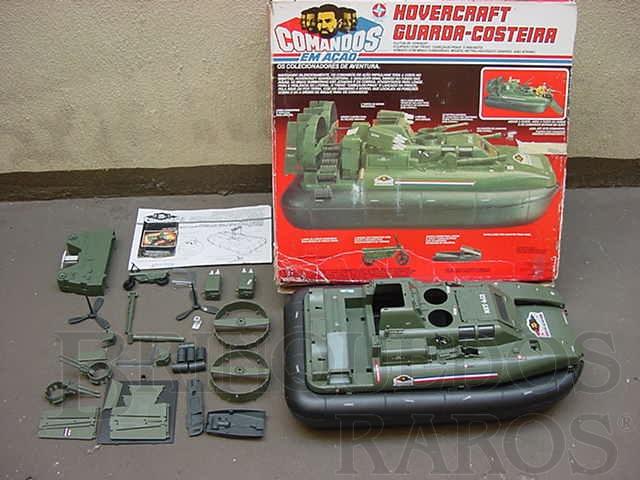 Brinquedo antigo Comandos em Ação Hovercraft Guarda Costeira completo com motocicleta e jet sky
