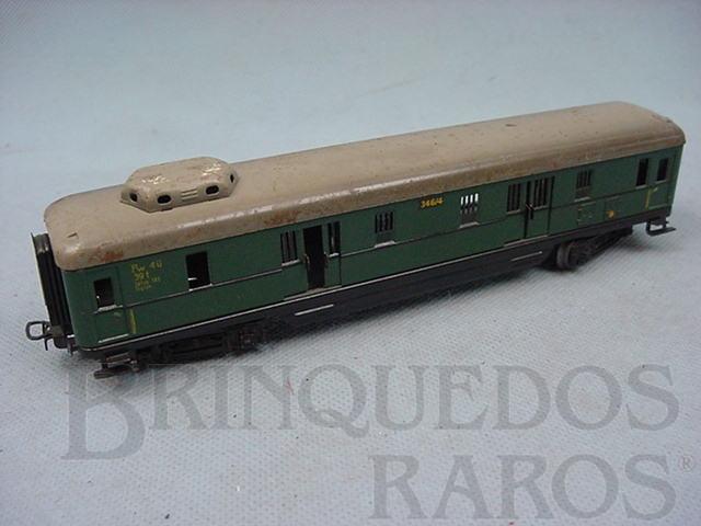 Brinquedo antigo Vagão de Bagagens com 4 eixos verde Década de 1950