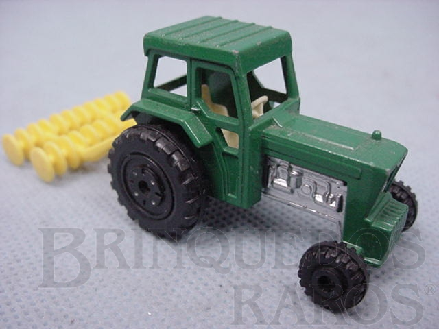 Brinquedo antigo Ford Tractor and Harrow Superfast verde Brazilian Matchbox Inbrima 1970