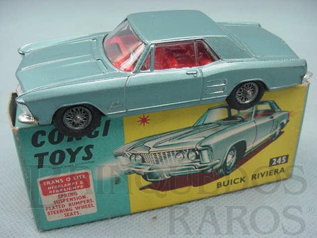 Brinquedo antigo Buick Riviera azul metálico Série Trans-O-Lite acende os faróis dianteiros e traseiros Ano 1966