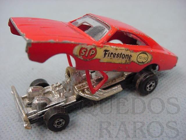 Brinquedo antigo Dodge Dragster Superfast vermelho Brazilian Matchbox Roly Toys 1970