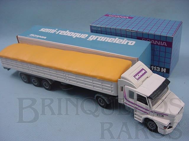 Brinquedo antigo Cavalo Mecânico Scania Vabis R113H e carreta graneleira branca