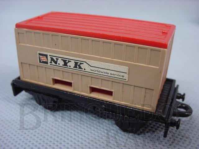 Brinquedo antigo Flat Car whit N.Y.K. Container Superfast