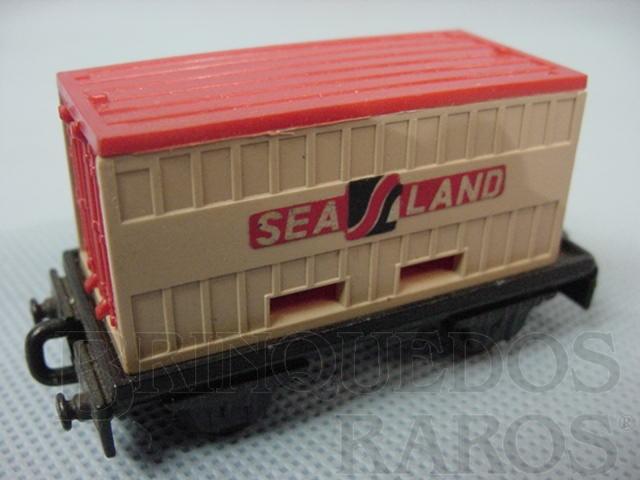Brinquedo antigo Flat Car whit Sea Land Container Superfast