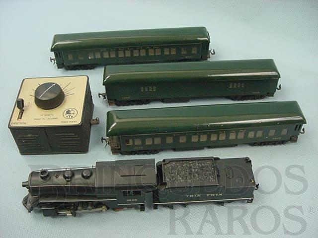 Brinquedo antigo Conjunto de Locomotiva a vapor um vagão de bagagens e dois carros Pullman de passageiros Sistema Trix Twin Ano 1948