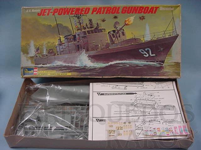Brinquedo antigo Barco Patrulha U.S. Navy Tacoma Jet Powered Patrol Gunboat Caixa mole Década de 1970