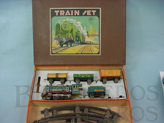 Brinquedo antigo Conjunto de Locomotiva e 3 Vagões de Carga Década de 1950