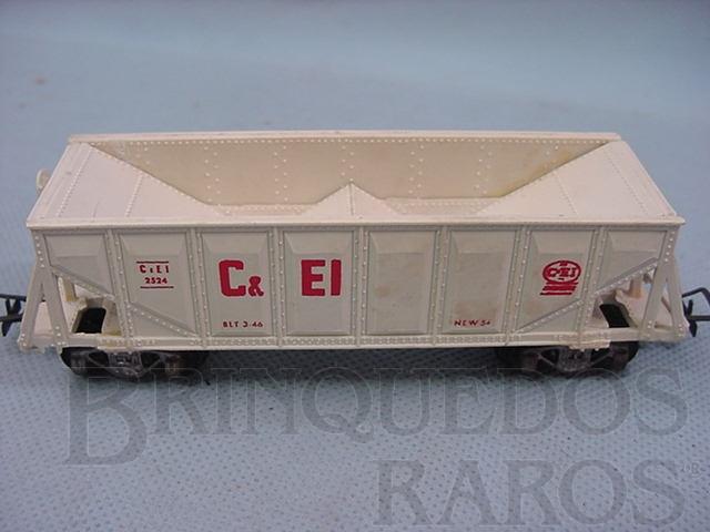 Brinquedo antigo Vagão Hopper branco C + EI Década de 1960