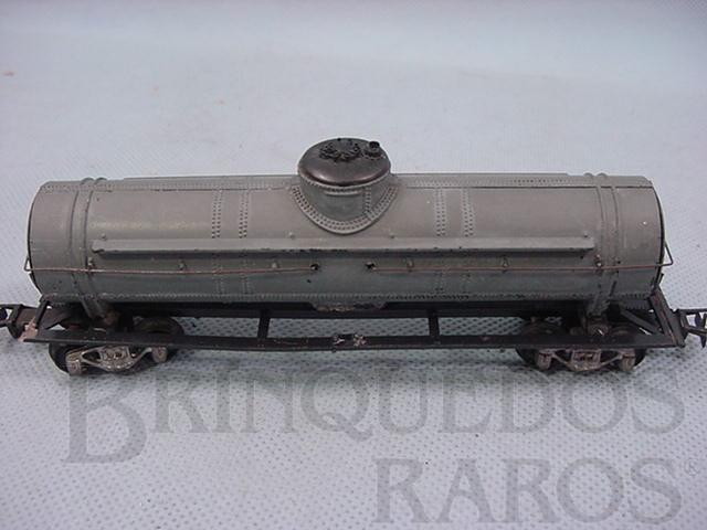 Brinquedo antigo Vagão tanque cinza Década de 1960
