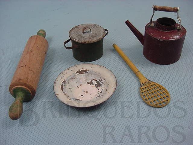 Brinquedo antigo Conjunto de cinco Utensílios para Cozinha de Boneca Década de 1930