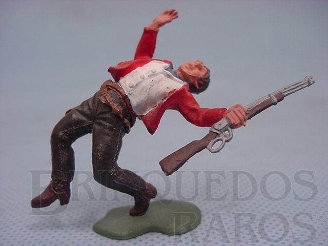 Brinquedo antigo Cowboy baleado Série Swoppet Década de 1970