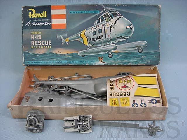 Brinquedo antigo Helicóptero Sikorsky H-19 Rescue Helicopter Caixa dura Algumas peças já montadas