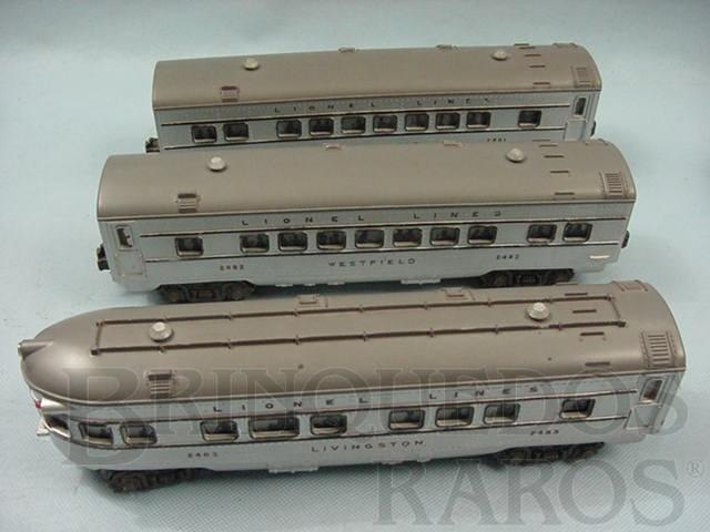 Brinquedo antigo Conjunto de tres Carros de Passageiros prata com teto cinza Ano 1950