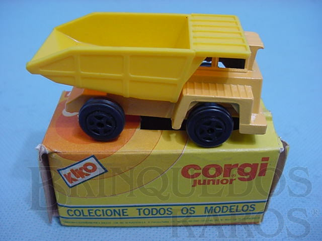 Brinquedo antigo Quarry Dumper Truck amarelo Brazilian Corgi Jr Kiko Década de 1980