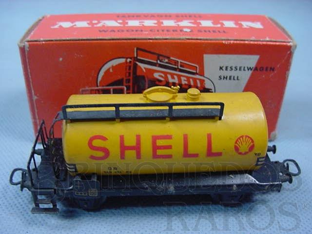 Brinquedo antigo Vagão tanque de dois eixos Shell linha DB Década de 1960