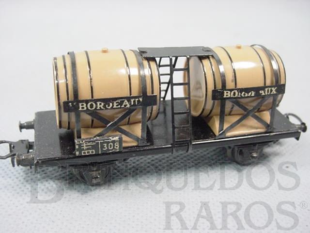 Brinquedo antigo Vagão transporte de Vinho de dois eixos Bordeaux Década de 1960
