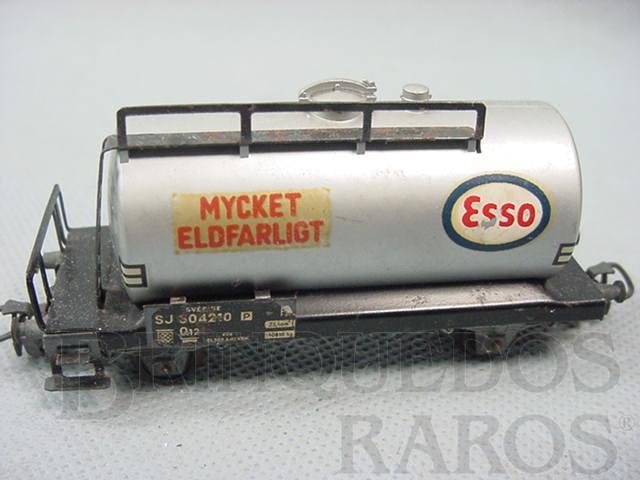 Brinquedo antigo Vagão tanque de dois eixos Esso Mycket Eldfarligt Década de 1960