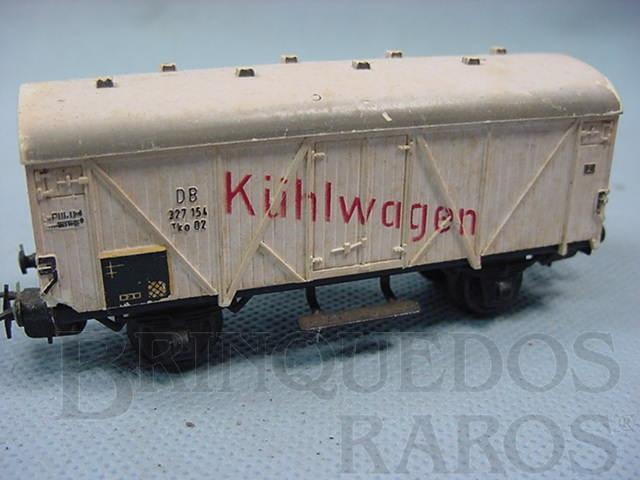 Brinquedo antigo Vagão frigorifico de dois eixos Kuhlwagen Decoração pintada Década de 1960