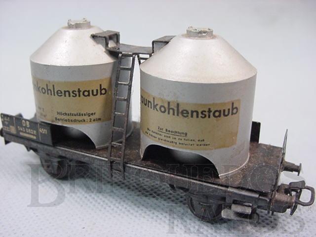 Brinquedo antigo Vagão transporte de pó de carvão com dois eixos Braunkohlenstaub decoração em decalcomania Década de 1960