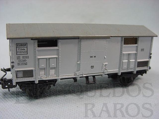 Brinquedo antigo Vagão furgão de dois eixos Ferrovia Estatal Italiana Década de 1960