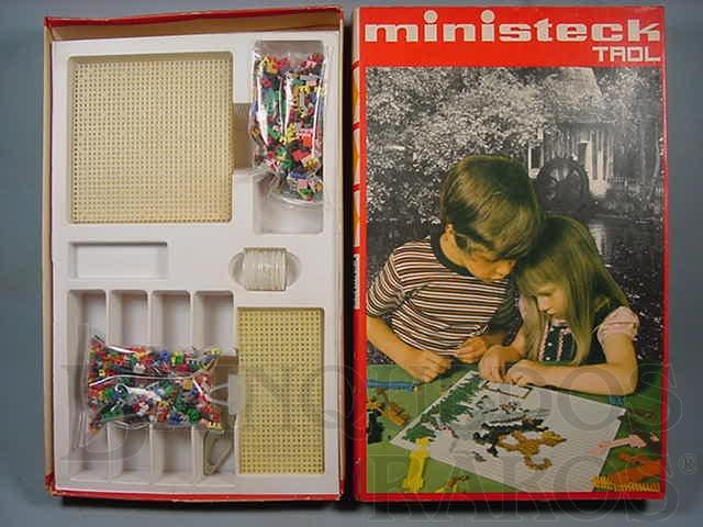 Brinquedo antigo Conjunto de peças para mosaico Ministeck Década de 1970