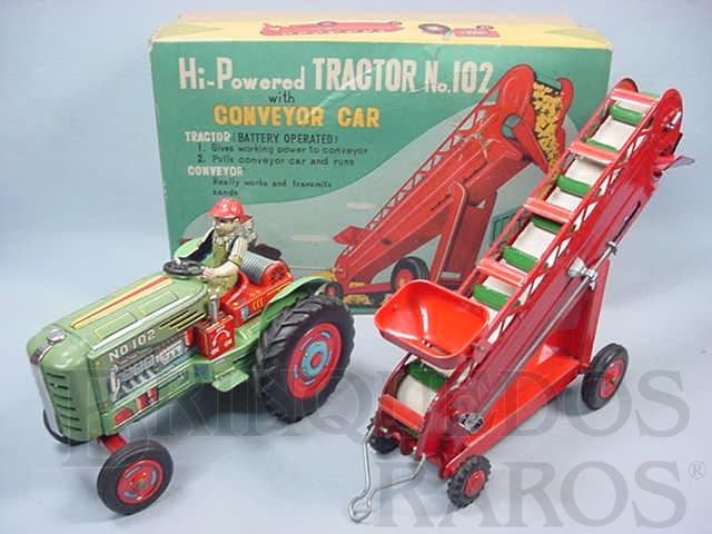 Brinquedo antigo Trator Agrícola com esteira transportadora de grãos Hi Powered Tractor with Conveyor Car Década de 1950