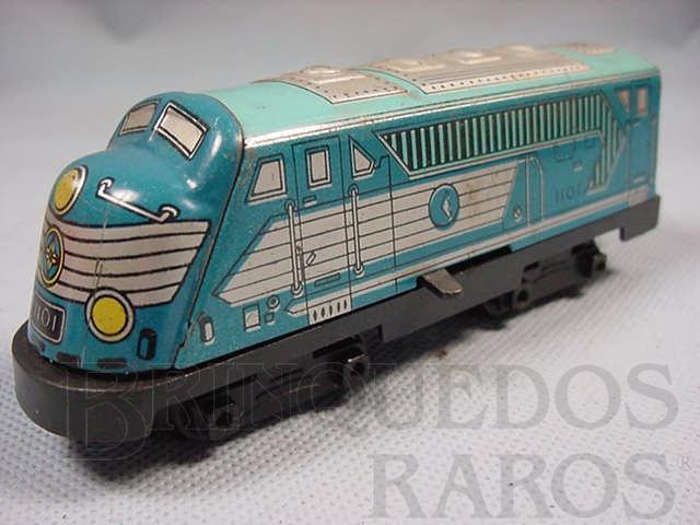 Brinquedo antigo Locomotiva diesel Ferrorama azul Década de 1960