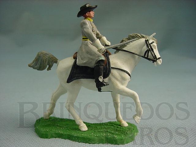 Brinquedo antigo Comandante Confederado a cavalo com sabre Década de 1960